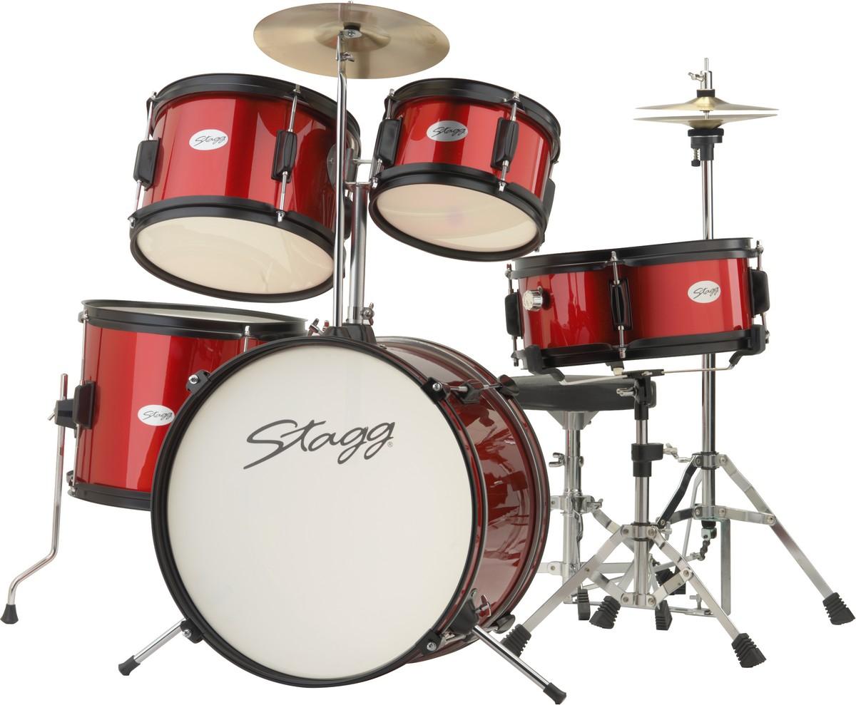 Fotografie Stagg TIM JR 5/16 RD, dětská bicí sada, červená