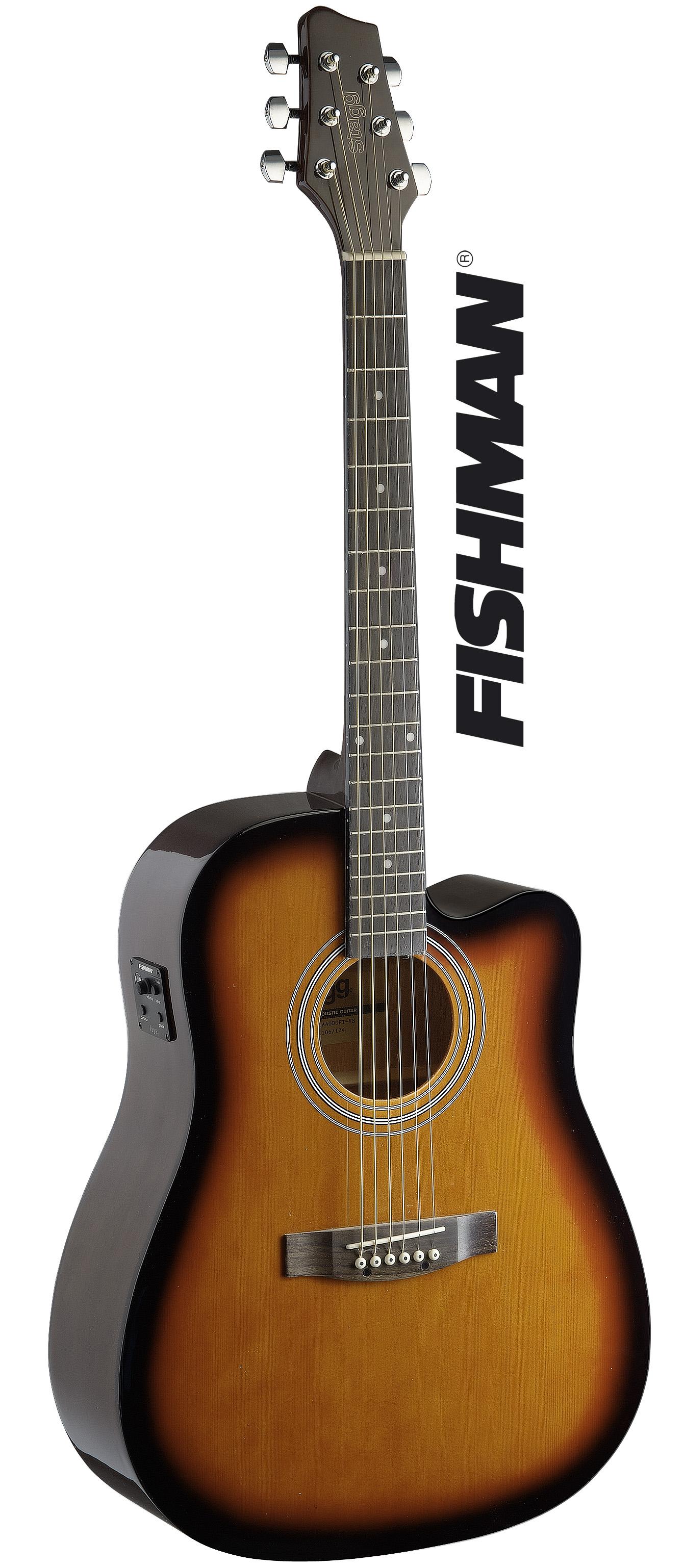 Stagg SA40DCFI-BS, elektro-akustická kytara, sunburst hnědý