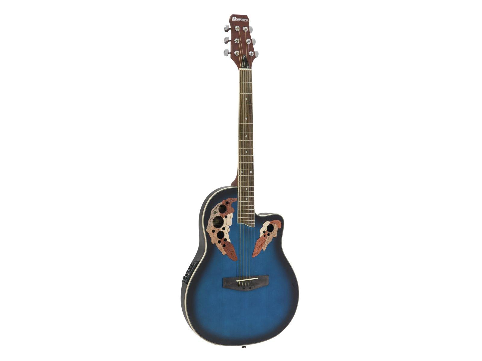 Fotografie Dimavery OV-500 elektro-akustická kytara Ovation, žíhaná modrá