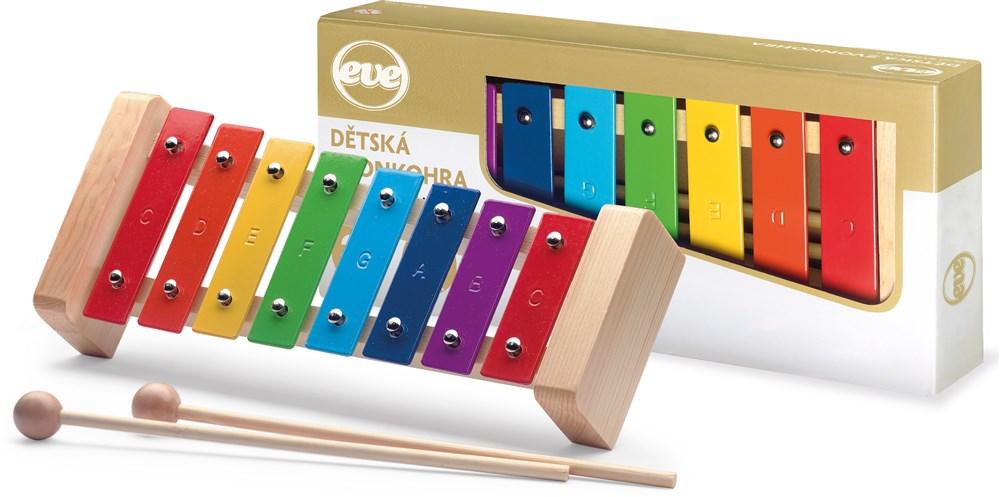 Dětský metalofon zvonkohra, 8 barevných kamenů